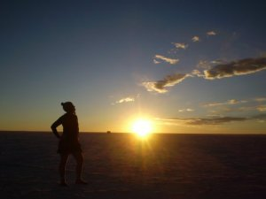 Sunset on salt flats Bolivia